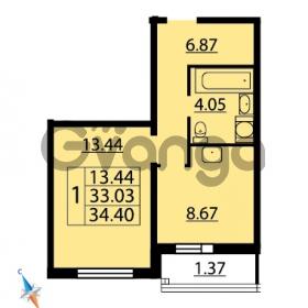 Продается квартира 1-ком 34.4 м² Парашютная улица 54, метро Комендантский проспект