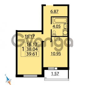 Продается квартира 1-ком 39.61 м² Парашютная улица 54, метро Комендантский проспект