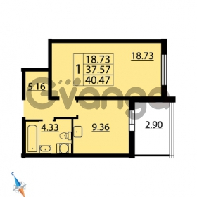 Продается квартира 1-ком 40.47 м² Парашютная улица 54, метро Комендантский проспект