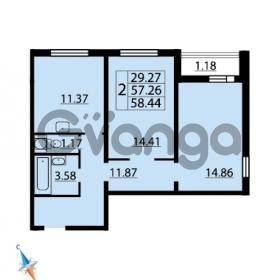 Продается квартира 2-ком 58.44 м² Парашютная улица 54, метро Комендантский проспект