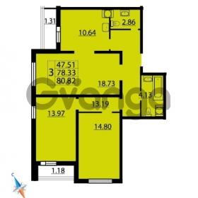Продается квартира 3-ком 80.82 м² Парашютная улица 54, метро Комендантский проспект