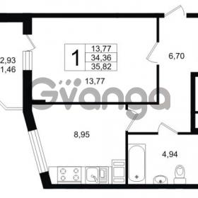 Продается квартира 1-ком 35.82 м² Воронцовский бульвар 1, метро Девяткино