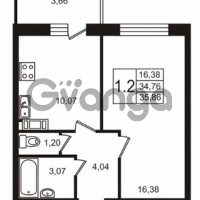 Продается квартира 1-ком 34 м² Советский проспект 42, метро Рыбацкое