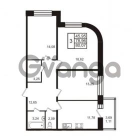 Продается квартира 3-ком 80.07 м² Европейский проспект 14, метро Улица Дыбенко