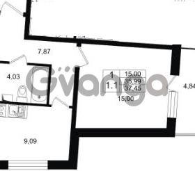 Продается квартира 1-ком 35 м² проспект Строителей 1, метро Улица Дыбенко