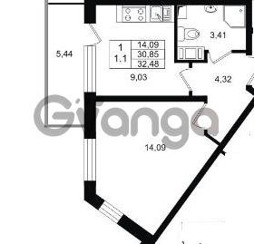 Продается квартира 1-ком 30 м² проспект Строителей 1, метро Улица Дыбенко