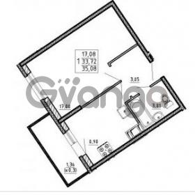 Продается квартира 1-ком 35.08 м² улица Шувалова 1, метро Девяткино