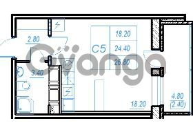 Продается квартира 1-ком 26.8 м² Бестужевская улица 54, метро Ладожская