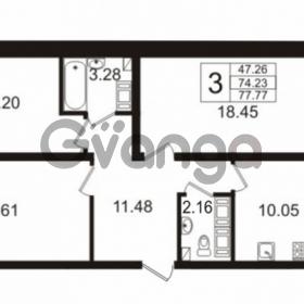 Продается квартира 3-ком 74 м² Венская улица 4к 2, метро Улица Дыбенко