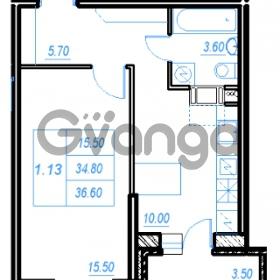 Продается квартира 1-ком 36.6 м² Бестужевская улица 54, метро Ладожская