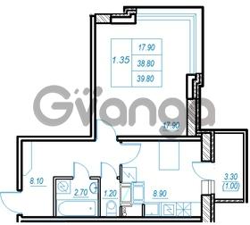 Продается квартира 1-ком 39.8 м² Бестужевская улица 54, метро Ладожская