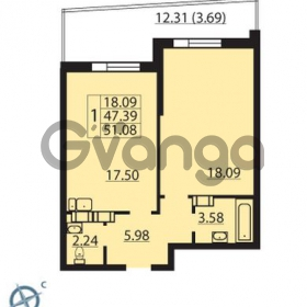 Продается квартира 1-ком 51 м² Балтийский бульвар 1, метро Проспект Ветеранов