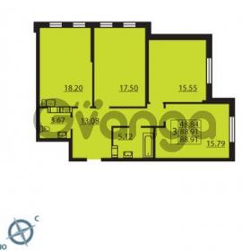 Продается квартира 3-ком 88 м² Балтийский бульвар 1, метро Проспект Ветеранов