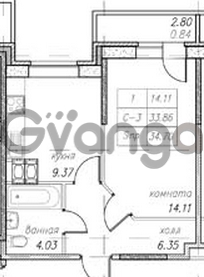 Продается квартира 1-ком 34 м² улица Фёдора Абрамова 16к 1, метро Парнас