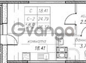 Продается квартира 1-ком 26 м² улица Фёдора Абрамова 16к 1, метро Парнас