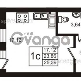 Продается квартира 1-ком 23 м² Комендантский проспект 53к 1, метро Комендантский проспект
