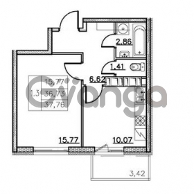 Продается квартира 1-ком 36 м² Комендантский проспект 53к 1, метро Комендантский проспект