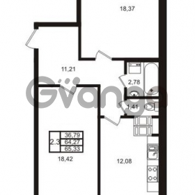 Продается квартира 2-ком 64 м² Комендантский проспект 53к 1, метро Комендантский проспект