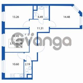 Продается квартира 3-ком 68 м² Петровский бульвар 1, метро Девяткино