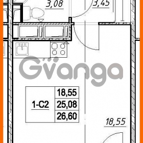 Продается квартира 1-ком 25.08 м² проспект Строителей 7, метро Улица Дыбенко