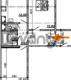 Продается квартира 2-ком 60.1 м² Южное шоссе 110, метро Международная