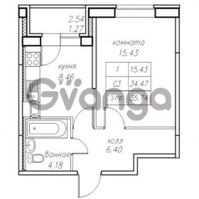 Продается квартира 1-ком 35.74 м² Юнтоловский проспект 53к 4, метро Старая деревня