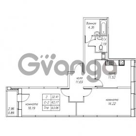 Продается квартира 2-ком 63.06 м² Юнтоловский проспект 53к 4, метро Старая деревня