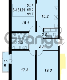 Продается квартира 3-ком 88 м² улица Адмирала Трибуца 5, метро Автово