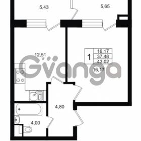 Продается квартира 1-ком 43 м² Ропшинское шоссе 1, метро Проспект Ветеранов