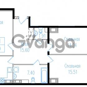 Продается квартира 3-ком 93.27 м² проспект Обуховской обороны 195, метро Пролетарская
