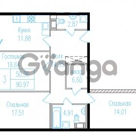 Продается квартира 3-ком 94.07 м² проспект Обуховской обороны 195, метро Пролетарская