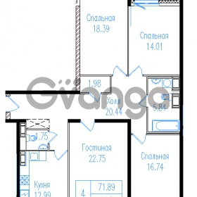 Продается квартира 4-ком 116.84 м² проспект Обуховской обороны 195, метро Пролетарская