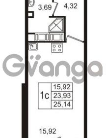 Продается квартира 1-ком 23 м² улица Пионерстроя 27, метро Проспект Ветеранов