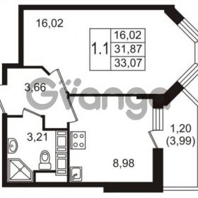 Продается квартира 1-ком 31 м² улица Пионерстроя 27, метро Проспект Ветеранов