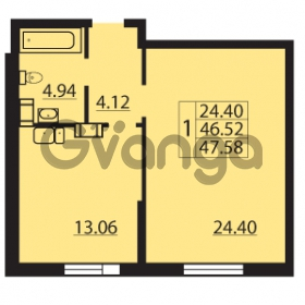Продается квартира 1-ком 47.58 м² Балтийский бульвар 1, метро Проспект Ветеранов