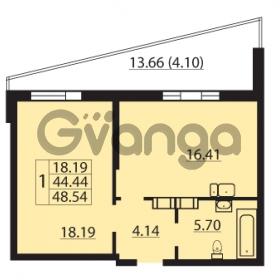 Продается квартира 1-ком 48.54 м² Балтийский бульвар 1, метро Проспект Ветеранов