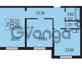 Продается квартира 2-ком 64.7 м² Балтийский бульвар 1, метро Проспект Ветеранов