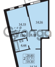 Продается квартира 2-ком 59.3 м² Балтийский бульвар 1, метро Проспект Ветеранов