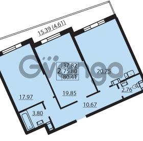 Продается квартира 2-ком 80.41 м² Балтийский бульвар 1, метро Проспект Ветеранов