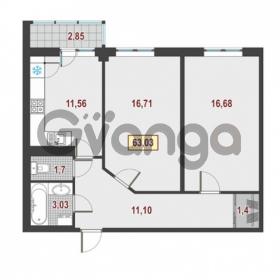 Продается квартира 2-ком 63.03 м² Европейский проспект 1, метро Улица Дыбенко