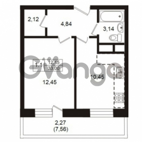 Продается квартира 1-ком 33 м² Школьная улица 7к 2, метро Купчино