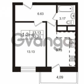 Продается квартира 1-ком 32.71 м² Школьная улица 7к 2, метро Купчино