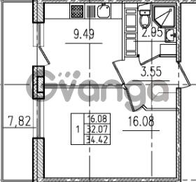 Продается квартира 1-ком 34 м² Венская улица 4к 2, метро Улица Дыбенко