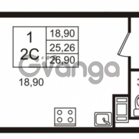 Продается квартира 1-ком 25 м² Венская улица 4к 2, метро Улица Дыбенко