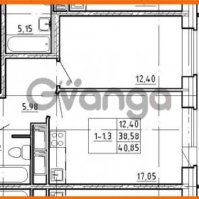 Продается квартира 1-ком 38.58 м² улица Костюшко 19, метро Московская