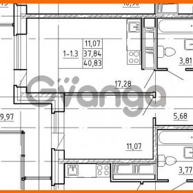 Продается квартира 1-ком 37.84 м² улица Костюшко 19, метро Московская
