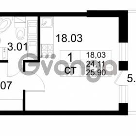 Продается квартира 1-ком 24.11 м² проспект Строителей 2, метро Улица Дыбенко