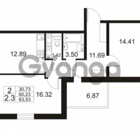 Продается квартира 2-ком 60.23 м² проспект Строителей 2, метро Улица Дыбенко