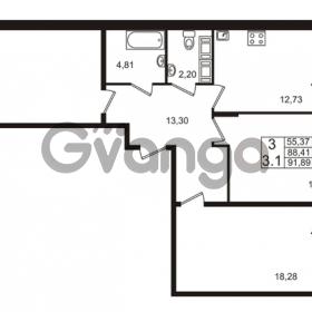Продается квартира 3-ком 88.41 м² проспект Строителей 2, метро Улица Дыбенко