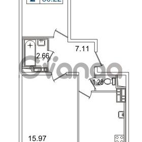 Продается квартира 2-ком 56.22 м² Европейский проспект 14, метро Улица Дыбенко